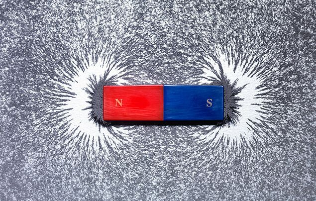 Albert Einstein facts | a magnet sits among iron fillings. one end is red and labelled N, the other blue and labelled S. Each end has an area of blank space in front of it, where it has repelled the metal filings.
