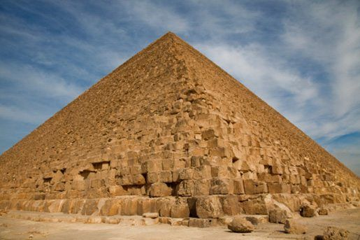 the pyramids of the ancient egyptians The ancient egyptians who built the pyramids may have been able to move massive stone blocks across the desert by wetting the sand in front of a contraption built to pull the heavy objects .