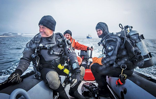 Paul Rose Dare To Explore Paul on the way to dive at Franz Josef Land in the Russian Arctic
