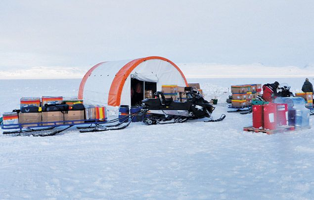 Paul Rose Dare To Explore Tents and kit at the Greenland basecamp