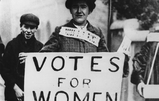 International Women's Day: black and white photograph of a suffragette