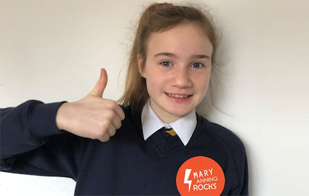 11-year-old fighting for a statue of Mary Anning: Evie Swire wearing a 'Mary Anning Rocks' badge