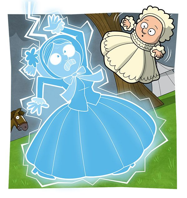 Mary Anning facts: cartoon of Mary Anning as a baby, when a lady holding her was struck by lightening!