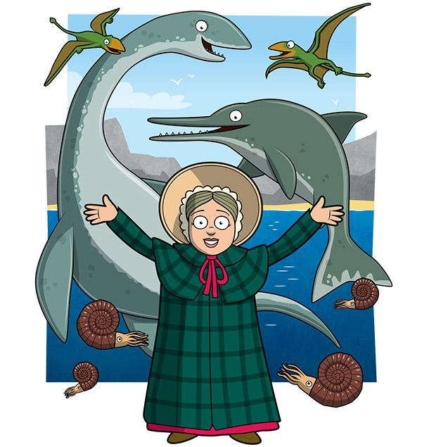 Mary Anning facts: cartoon of Mary Anning surrounded by her pre-historic discoveries