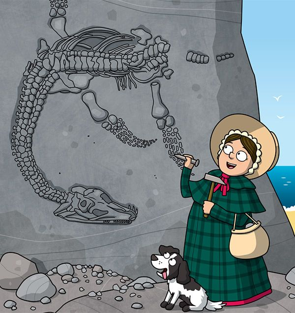 Mary Anning facts: cartoon of Mary Anning discovering the first ever Plesiosaur skeleton