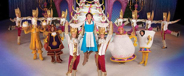 Disney On Ice competition: ice skaters performing Beauty and the Beast