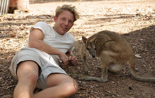 Out There With Jack Randall: Jack posing with a kangaroo
