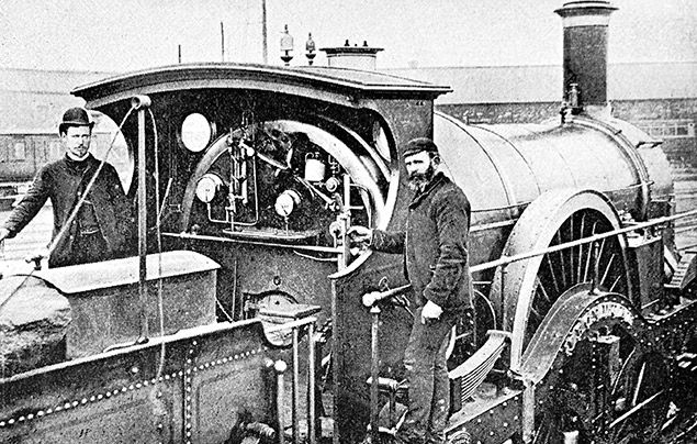 Victorian facts: black and white photograph of a steam engine