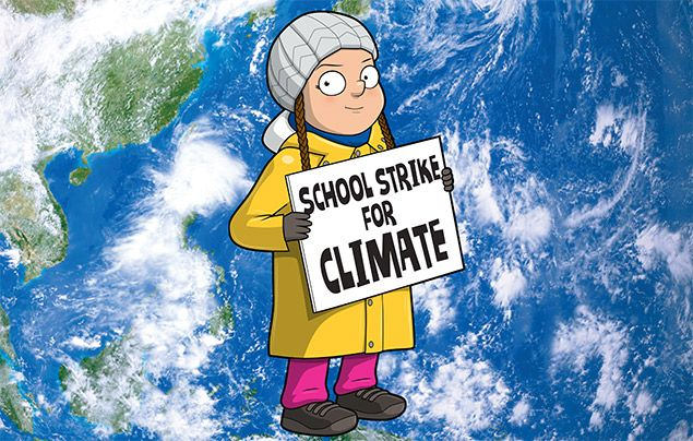 Greta Thunberg facts: illustration of Greta holding a 'School Strike for Climate' poster
