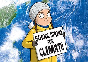 Greta Thunberg facts: illustration of Greta holding a 'School Strike for Climate' poster