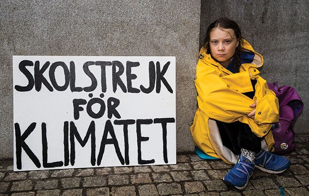 School Strikes for Climate: photo of Greta Thunberg striking outside the Swedish parliament