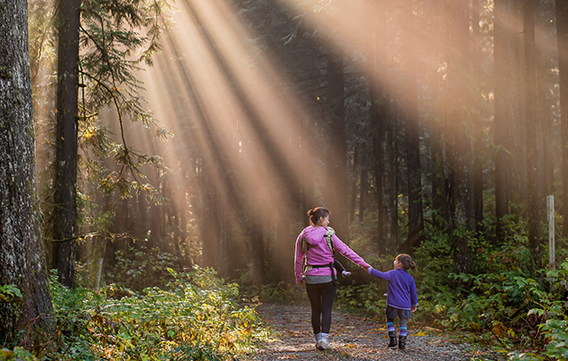 How to appreciate nature   Mother and daughter walk through wood