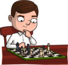 Alan Turing Facts | a young Alan sits at a wooden table in front of a chess board, deep in thought
