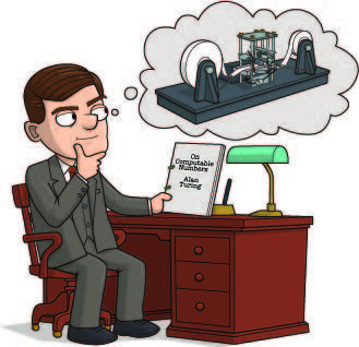 Alan Turing Facts | alan sits at a desk, dreaming of a complicated machine