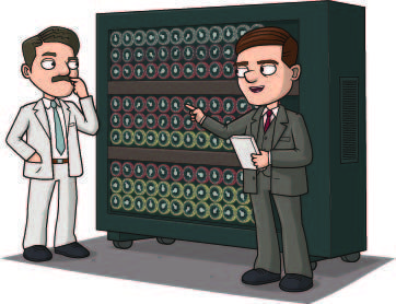 alan turing facts | alan and gordon stand in front of a tall box full of machinery