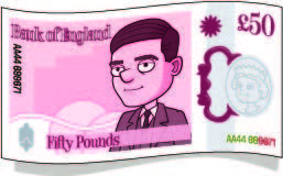 alan turing facts | alan's face smiles from a pink £50 note