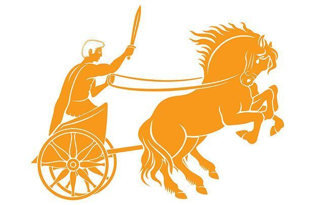 facts about the olympics | a cartoon of a man on a chariot, being pulled by a feisty horse. he is brandishing a sword.