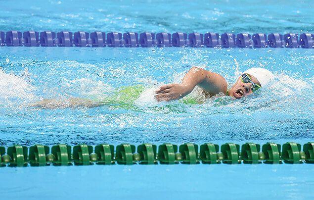 Nicole swims front crawl